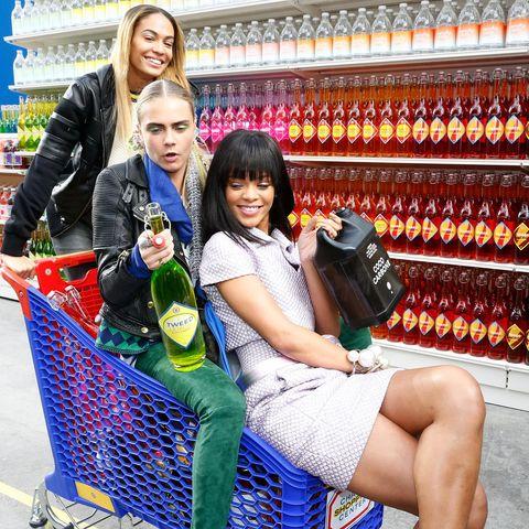 Smile, Shopping cart, Bag, Drink, Retail, Cart, Luggage and bags, Shelf, Bottle, Customer,