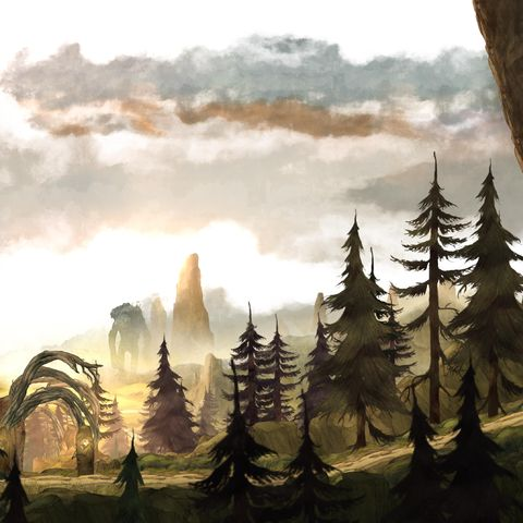 Cloud, Art, Biome, Painting, Illustration, Paint, Evergreen, Conifer, Pine family, Drawing,
