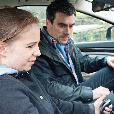 Motor vehicle, Ear, Nose, Vehicle door, Car seat, Automotive mirror, Head restraint, Passenger, Earrings, Nail,