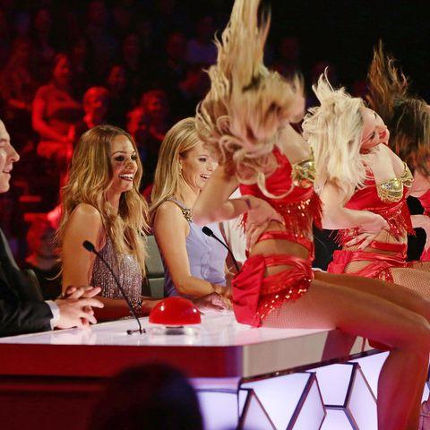 Blond, Audience, Cheering, Cheerleading, Cheerleading uniform, Makeover, Dancer, Celebrating, Choreography, Dance,