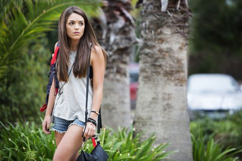 Human body, Bag, Street fashion, Denim, Waist, Beauty, Long hair, Youth, Luggage and bags, Model,