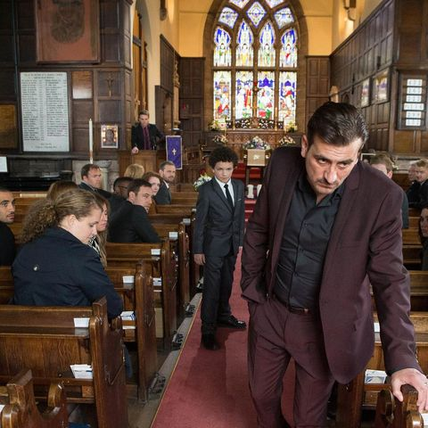 Window, Glass, Stained glass, Fixture, Blazer, Varnish, Chapel, Place of worship, Church, Suit trousers,