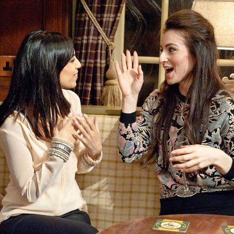 Arm, Finger, Hand, Wrist, Table, Sharing, Long hair, Gesture, Thumb, Conversation,