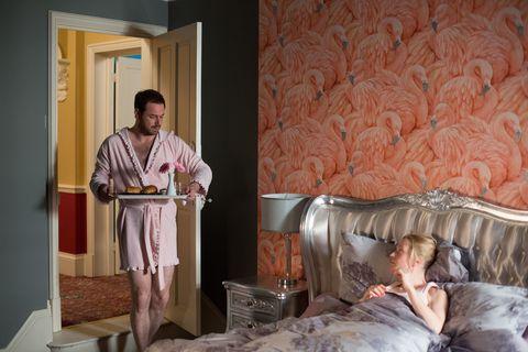 Human, Room, Comfort, Interior design, Ceiling, Bed, Linens, Bedding, Bedroom, Interior design,