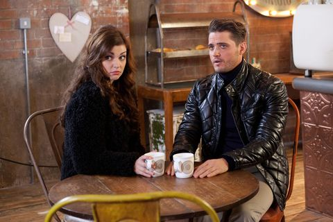 Jacket, Sitting, Table, Leather jacket, Conversation, Lamp, Love, Leather, Heart,