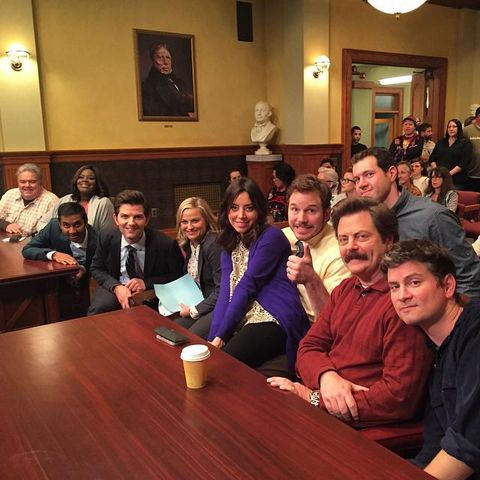 Parks and Rec cast for Seth Meyers chat