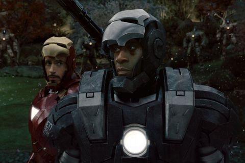 don cheadle and robert downey jr as war machine and iron man