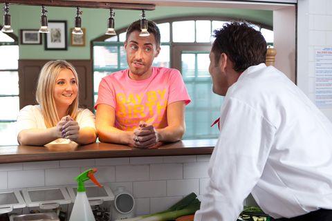 Cooking, Countertop, Kitchen appliance, Cook, Plate, Kitchen, Service, Kitchen utensil, Vegetable, Belt,
