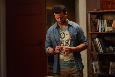Shelf, Dress shirt, Shelving, Standing, Bookcase, Elbow, Door, Denim, Wrist, Publication,