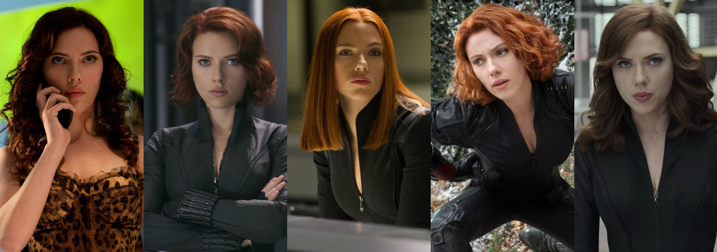 why does scarlett johansson's black widow hairstyle change in every