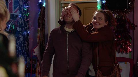 Winter, Jacket, Christmas decoration, Holiday, Christmas, Christmas ornament, Christmas lights, Love, Christmas eve, Laugh,
