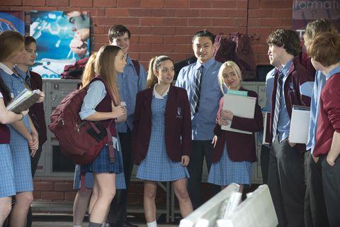 Hair, Leg, Uniform, Luggage and bags, Dress, School uniform, Bag, Handbag, Student, One-piece garment,