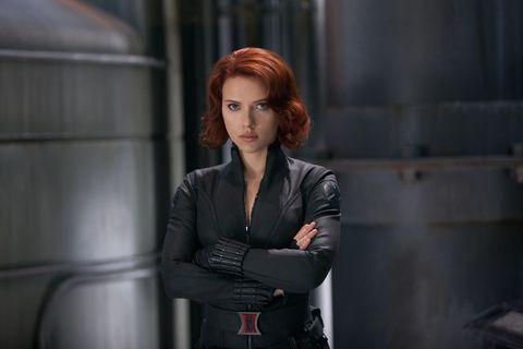 Fictional character, Black widow, Jacket, Leather,