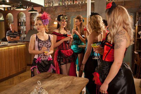 Fashion accessory, Fashion, Dress, Party, Costume, Shelf, Hair accessory, Headpiece, Wig, Artificial hair integrations,