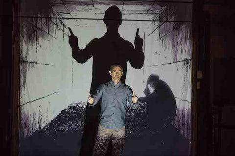 Standing, Wall, Gesture, Snapshot, Monochrome, Visual arts,