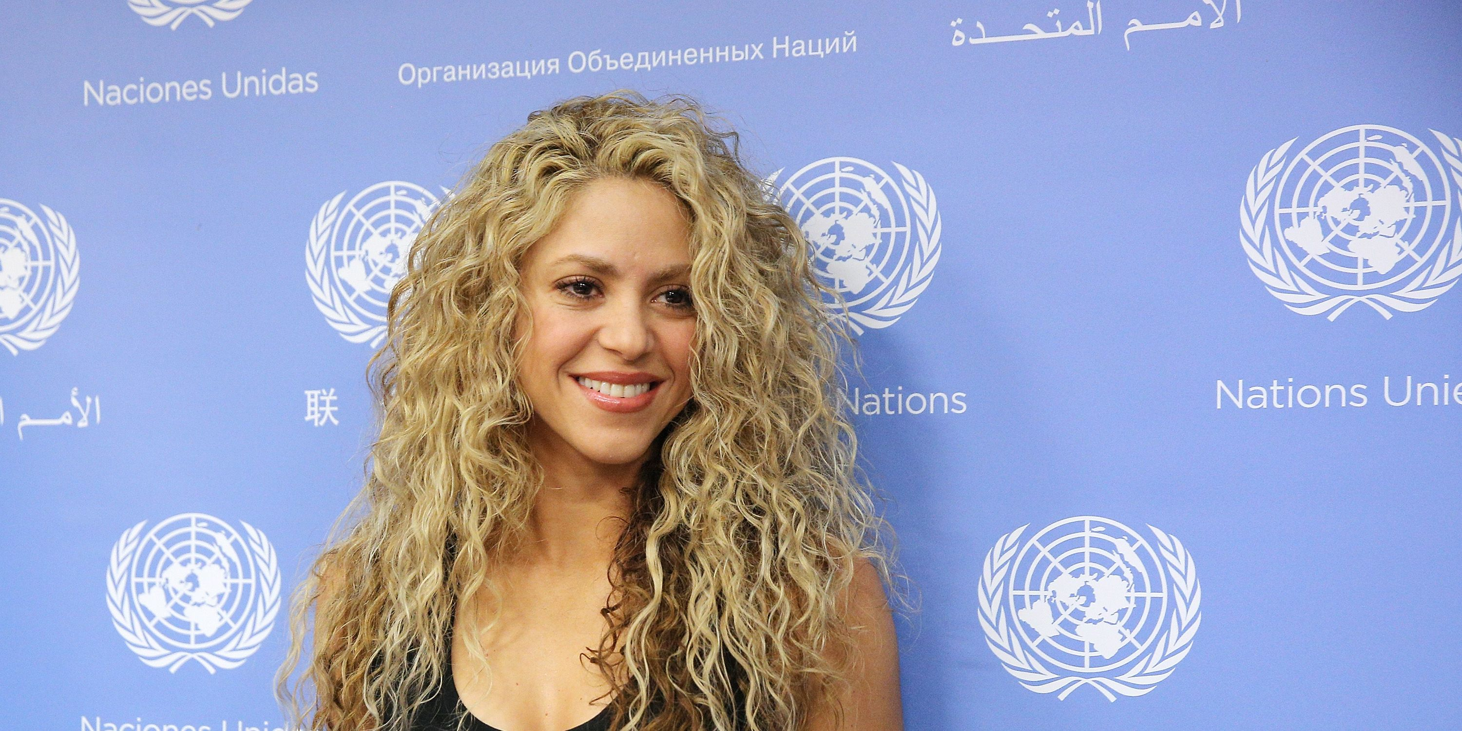 Singer Shakira greets the press after a press conference following the Meeting Of The Minds: Investing In Early Childhood Development As The Foundation For Sustainable Development Meeting at United Nations on September 22, 2015 in New York City.