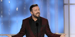 Ricky Gervais on stage during the 69th Annual Golden Globe Awards (2012)