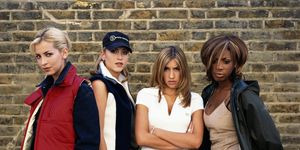 English-Canadian girl group All Saints, circa 1995. From left to right, Natalie Appleton, Nicole Appleton, Melanie Blatt and Shaznay Lewis.