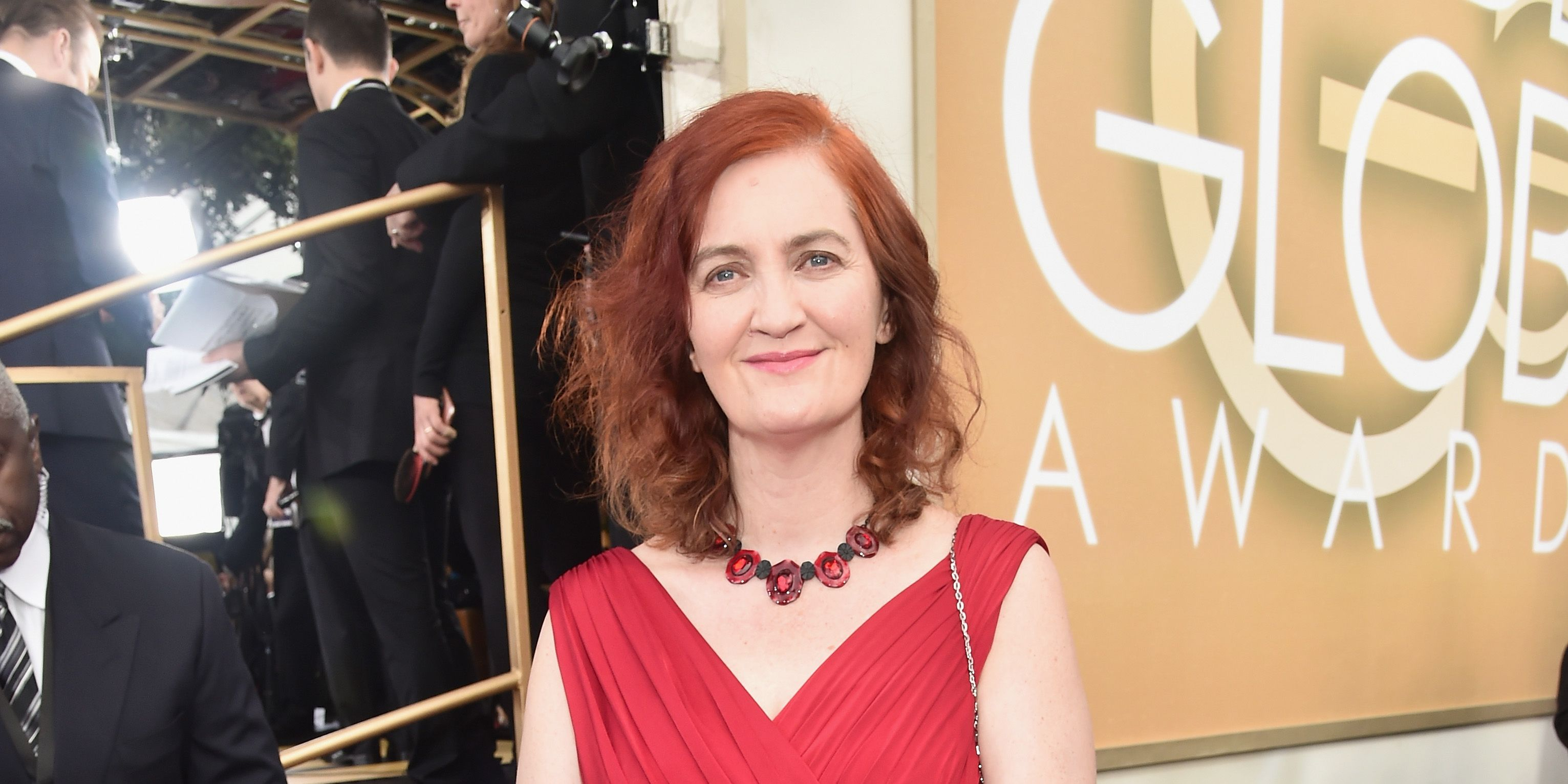 Emma Donoghue arrives to the 73rd Annual Golden Globe Awards