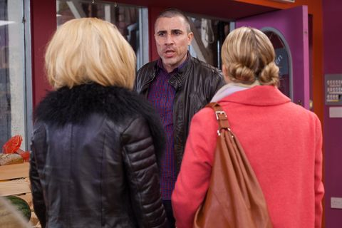 Trevor starts arguing with Esther and Grace in the village