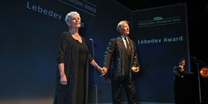 Dame Judi Dench and Sir Ian McKellen present The Lebedev Award at The London Evening Standard Theatre Awards