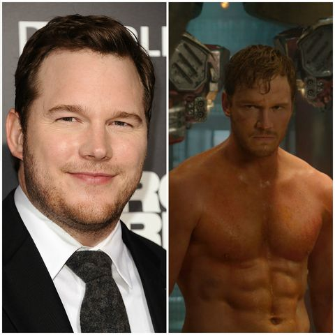 Chris Pratt before and after his training regime