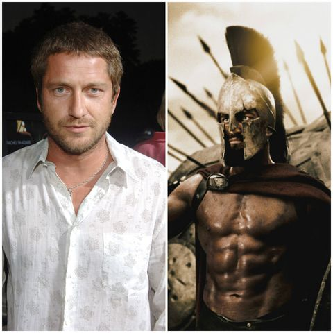 Gerard Butler before and after his 300 training