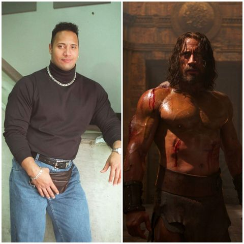 Dwayne 'The Rock' Johnson, before and after he got (more) serious about his training