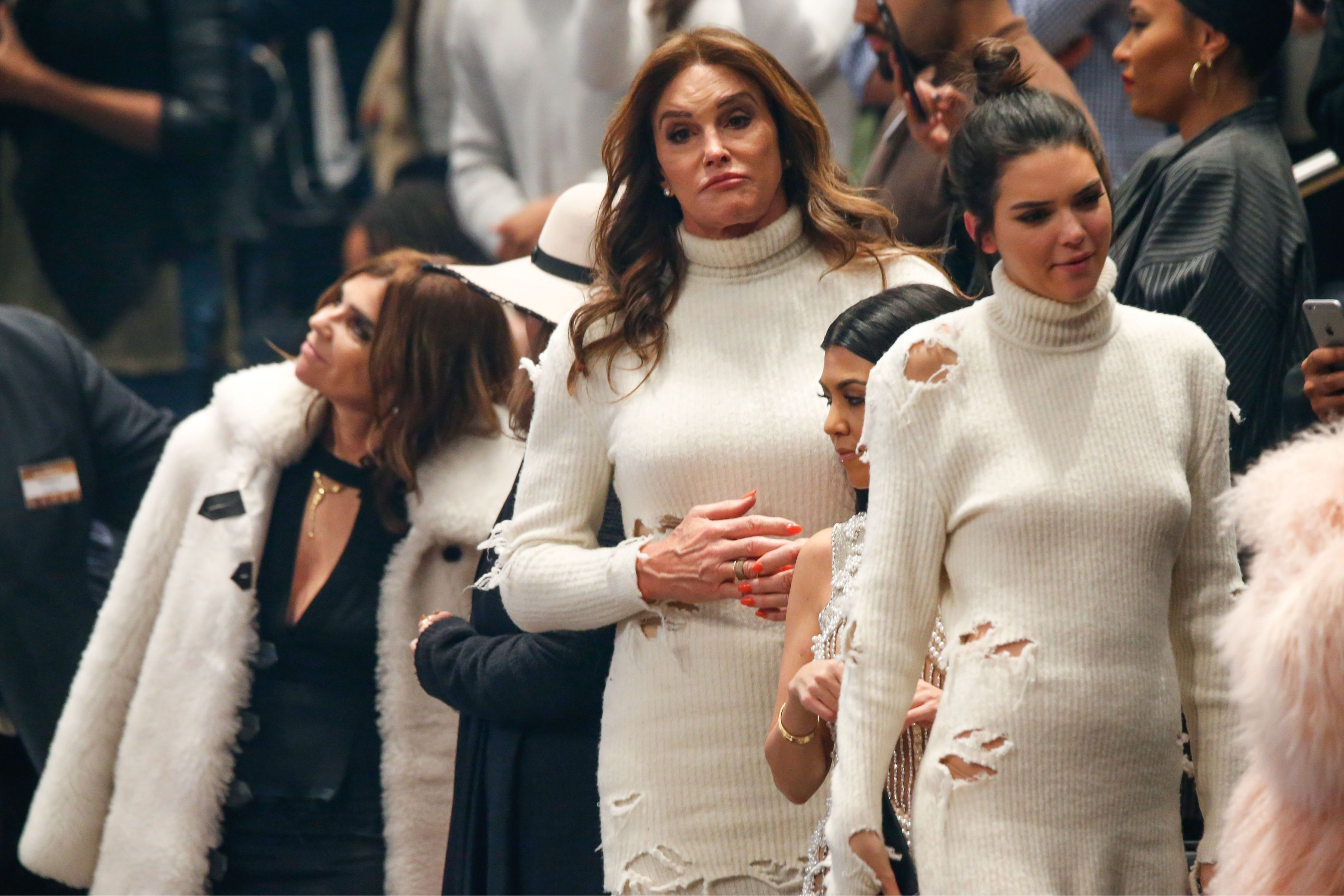 ec74663f3fa48 Caitlyn and Kendall Jenner wear the same dress to Kanye West s Yeezy  fashion show and new album launch