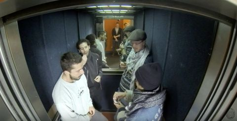Shia LaBeouf in a lift in Oxford