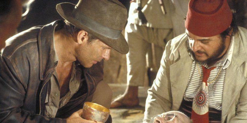 Harrison Ford iJohn Rhys-Davies wfilmie Indiana Jones iOstatnia Krucjata