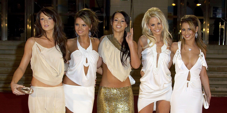 Girls Aloud Sarah Harding, Nadine Coyle, Nicola Roberts, Cheryl Fernandez-Versini and Kimberley Walsh Brits red carpet 2005