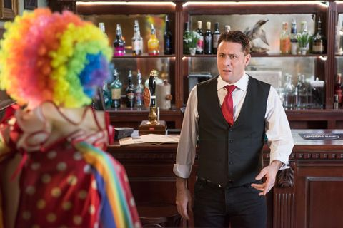 ​Tony is frightened by Scott's clown idea.
