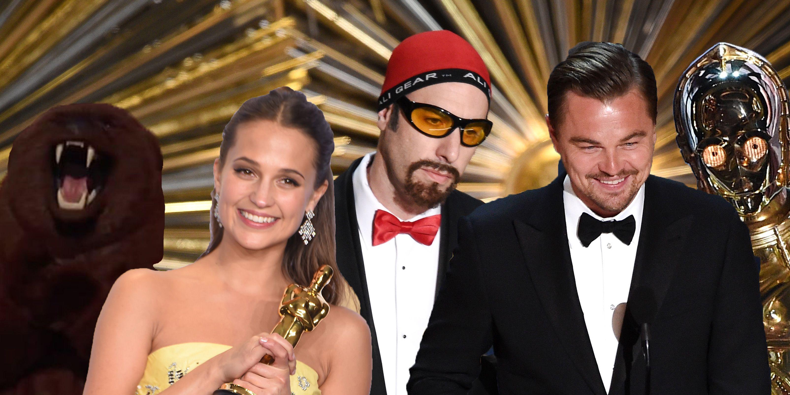 Oscars Bear, Alicia Vikander, Ali G, Sacha Baron Cohen, Leonardo DiCaprio, C-3PO Star Wars