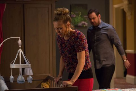 Mick comes running into the room when he hears Linda screaming.