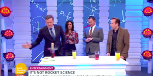 Piers Morgan, Susanna Reid and Richard Arnold attempting an experiment with Ben Miller on Good Morning Britain