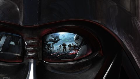 Star Wars Battlefront promo image from EA Dice video game, storm trooper reflected in Darth Vader's eye