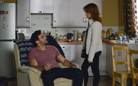 A concerned Carmel tries to reason with Kush. 