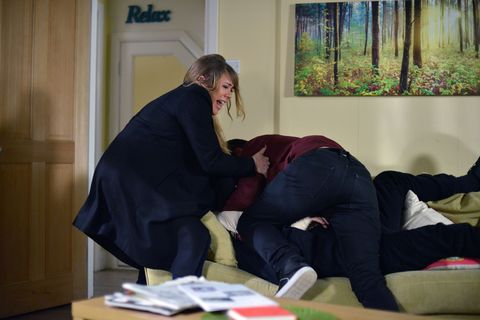 Sharon walks in to find Ben attempting to suffocate Phil.