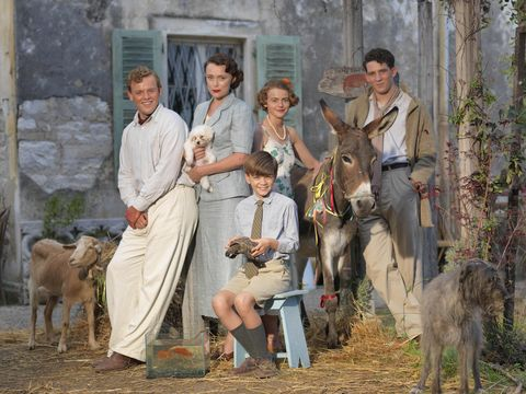 The Durrells: Callum Woodhouse as Leslie Durrell, Keely Hawes as Louisa Durrell, Milo Parker as Gerry Durrell, Daisy Waterstone as Margo Durrell and Josh O'Connor as Larry Durrell
