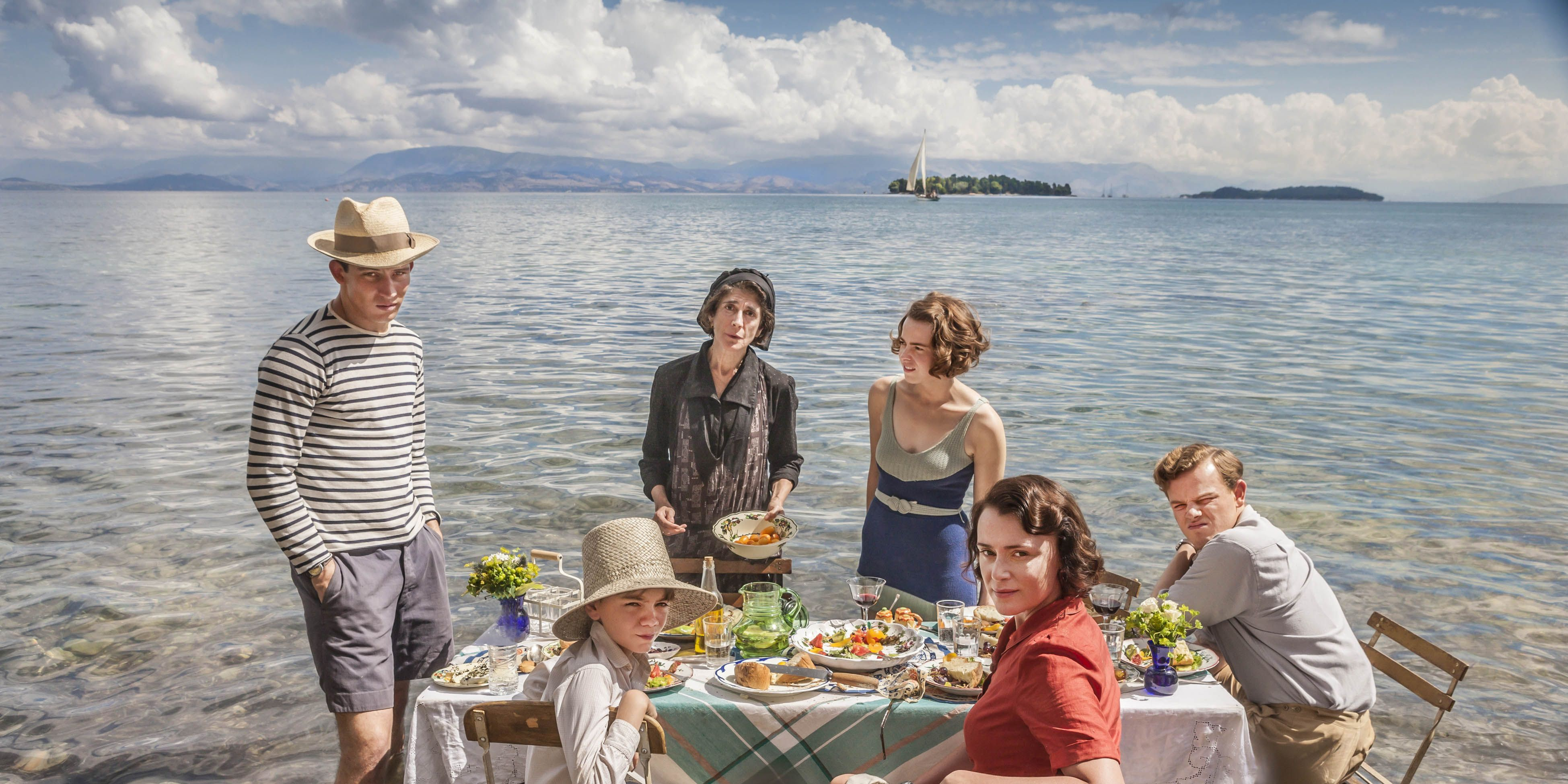 The Durrells: Josh O'Connor as Larry Durrell, Milo Parker as Gerry Durrell, Anna Savva as Lugaretza, Daisy Waterstone as Margo Durrell, Keeley Hawes as Louisa Durrell and Callum Woodhouse as Leslie Durrell
