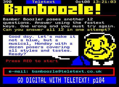 Bamboozle on Teletext