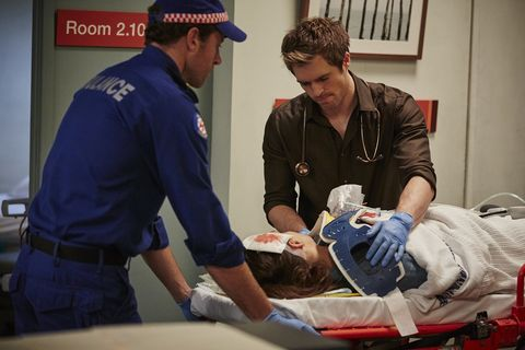 ​The paramedics rush Hannah into the hospital.