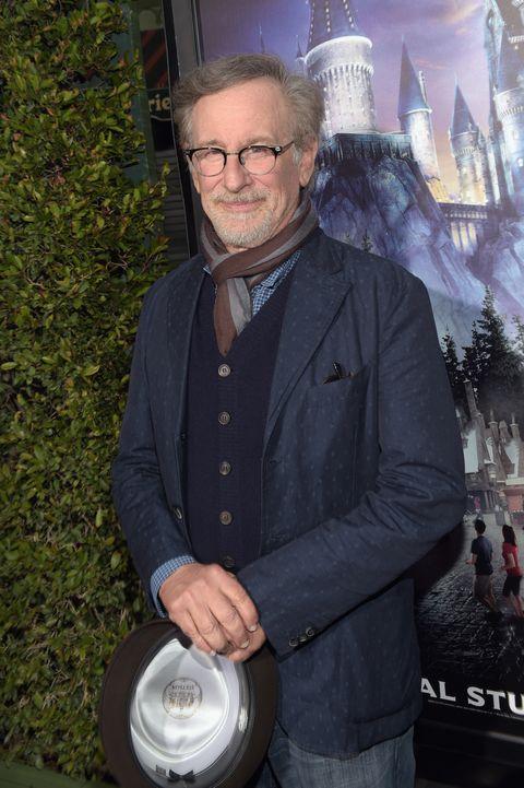 steven spielberg arrives at the opening of the wizarding world of harry potter