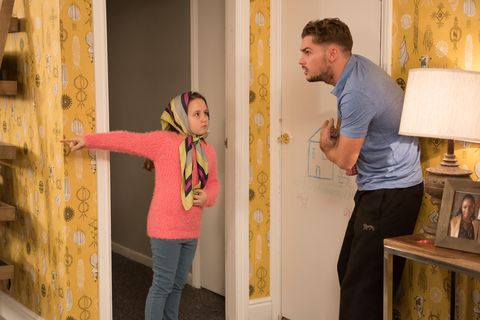 Leah and Lucas get under Ste's feet as he tries to tidy up.