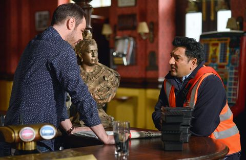 Masood and Mick discuss Nancy's plans. 