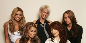 Girls Aloud members (clockwise from top L) Nadine Coyle, Sarah Harding, Kimberley Walsh, Nicola Roberts and Cheryl Tweedy pose for a portrait at BBC Television Centre on October 25, 2006 in London, England.