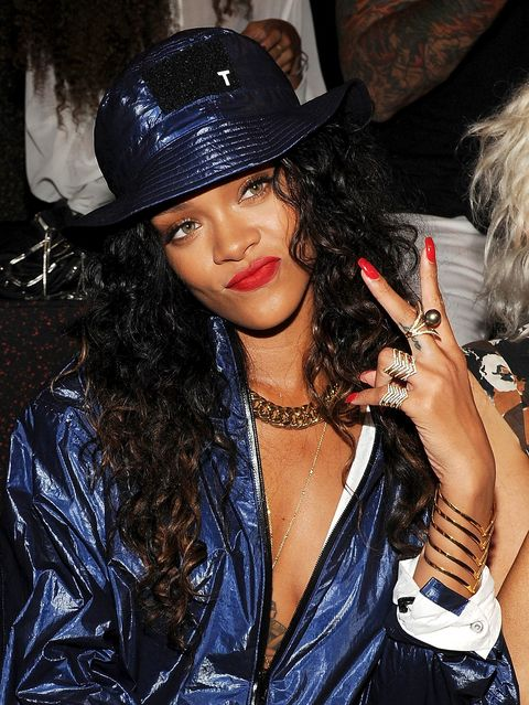Singer Rihanna attends the Alexander Wang fashion show during Mercedes-Benz Fashion Week Spring 2015 at Pier 94 on September 6, 2014 in New York City.