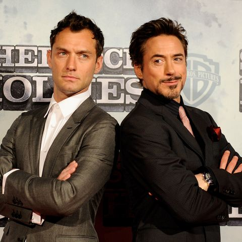 Actors Jude Law (L) and Robert Downey Jr (R) attend the 'Sherlock Holmes' premiere at Kinepolis cinema on January 13, 2010 in Madrid, Spain.