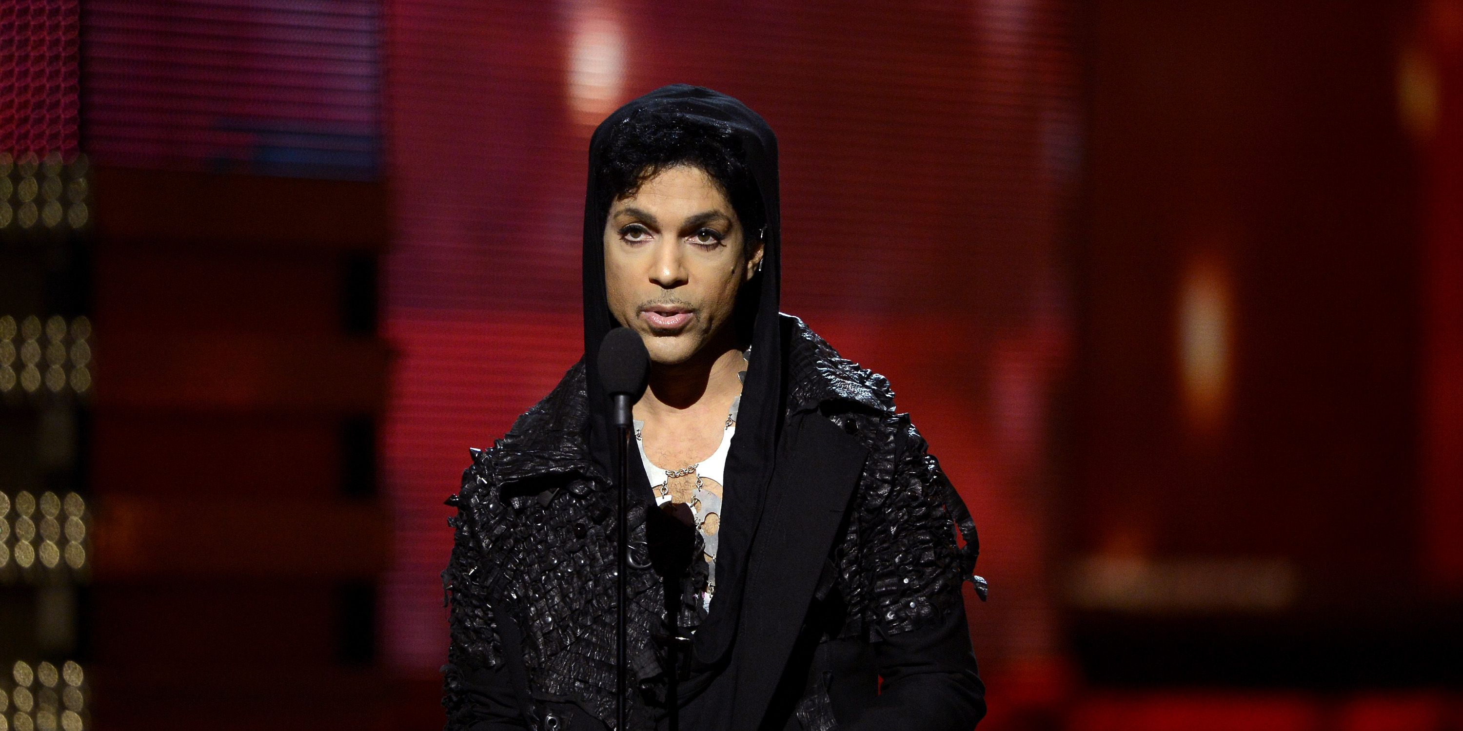 Prince speaks onstage at the 55th Annual GRAMMY Awards